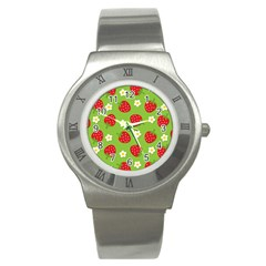 Strawberries Flower Floral Red Green Stainless Steel Watch