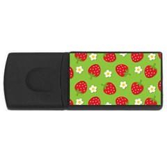 Strawberries Flower Floral Red Green USB Flash Drive Rectangular (4 GB)