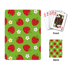 Strawberries Flower Floral Red Green Playing Card