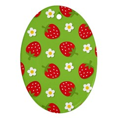 Strawberries Flower Floral Red Green Oval Ornament (Two Sides)