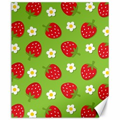 Strawberries Flower Floral Red Green Canvas 8  x 10