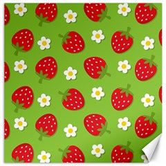 Strawberries Flower Floral Red Green Canvas 12  x 12