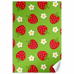 Strawberries Flower Floral Red Green Canvas 12  x 18