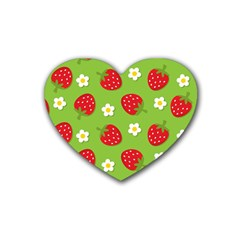 Strawberries Flower Floral Red Green Heart Coaster (4 pack)