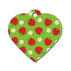 Strawberries Flower Floral Red Green Dog Tag Heart (One Side)