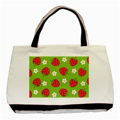 Strawberries Flower Floral Red Green Basic Tote Bag (two Sides)