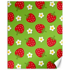 Strawberries Flower Floral Red Green Canvas 11  x 14