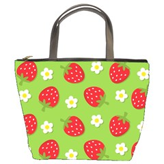 Strawberries Flower Floral Red Green Bucket Bags