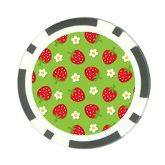 Strawberries Flower Floral Red Green Poker Chip Card Guard (10 pack)