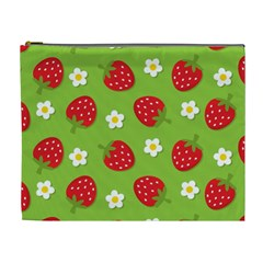 Strawberries Flower Floral Red Green Cosmetic Bag (XL)