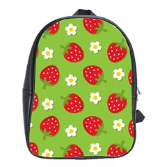 Strawberries Flower Floral Red Green School Bags(Large)