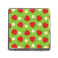 Strawberries Flower Floral Red Green Memory Card Reader (Square)
