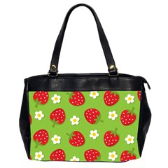 Strawberries Flower Floral Red Green Office Handbags (2 Sides)