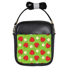 Strawberries Flower Floral Red Green Girls Sling Bags