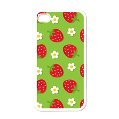 Strawberries Flower Floral Red Green Apple iPhone 4 Case (White)