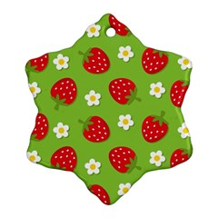 Strawberries Flower Floral Red Green Ornament (Snowflake)