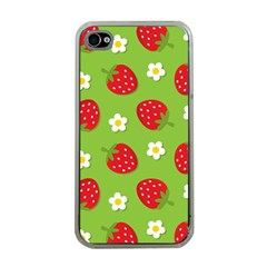 Strawberries Flower Floral Red Green Apple iPhone 4 Case (Clear)