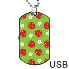 Strawberries Flower Floral Red Green Dog Tag USB Flash (Two Sides)