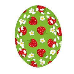Strawberries Flower Floral Red Green Ornament (Oval Filigree)