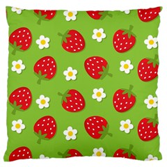 Strawberries Flower Floral Red Green Large Cushion Case (Two Sides)