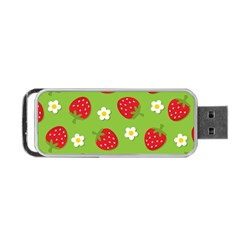 Strawberries Flower Floral Red Green Portable USB Flash (One Side)