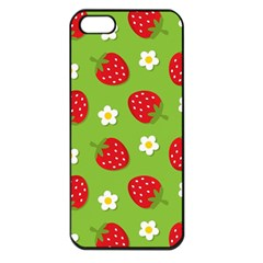 Strawberries Flower Floral Red Green Apple iPhone 5 Seamless Case (Black)