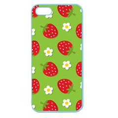 Strawberries Flower Floral Red Green Apple Seamless iPhone 5 Case (Color)