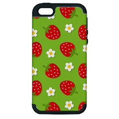 Strawberries Flower Floral Red Green Apple iPhone 5 Hardshell Case (PC+Silicone)