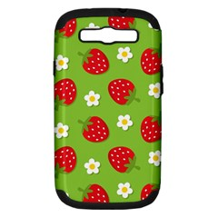 Strawberries Flower Floral Red Green Samsung Galaxy S III Hardshell Case (PC+Silicone)