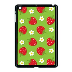 Strawberries Flower Floral Red Green Apple iPad Mini Case (Black)