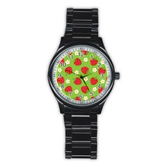 Strawberries Flower Floral Red Green Stainless Steel Round Watch