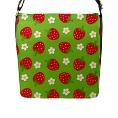 Strawberries Flower Floral Red Green Flap Messenger Bag (L)
