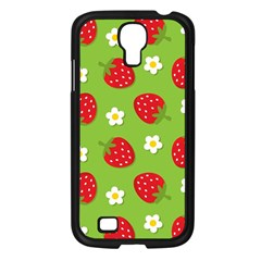 Strawberries Flower Floral Red Green Samsung Galaxy S4 I9500/ I9505 Case (Black)