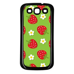 Strawberries Flower Floral Red Green Samsung Galaxy S3 Back Case (Black)