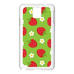 Strawberries Flower Floral Red Green Samsung Galaxy Note 3 N9005 Case (White)