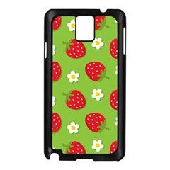 Strawberries Flower Floral Red Green Samsung Galaxy Note 3 N9005 Case (Black)