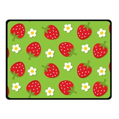 Strawberries Flower Floral Red Green Double Sided Fleece Blanket (Small)