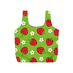 Strawberries Flower Floral Red Green Full Print Recycle Bags (S)