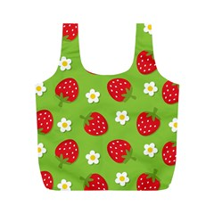 Strawberries Flower Floral Red Green Full Print Recycle Bags (M)
