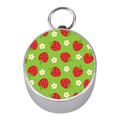 Strawberries Flower Floral Red Green Mini Silver Compasses