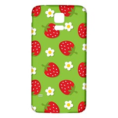 Strawberries Flower Floral Red Green Samsung Galaxy S5 Back Case (White)
