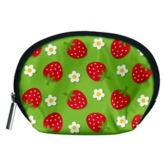 Strawberries Flower Floral Red Green Accessory Pouches (Medium)