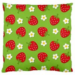 Strawberries Flower Floral Red Green Large Flano Cushion Case (One Side)