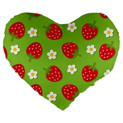 Strawberries Flower Floral Red Green Large 19  Premium Flano Heart Shape Cushions