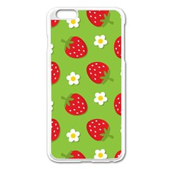Strawberries Flower Floral Red Green Apple iPhone 6 Plus/6S Plus Enamel White Case