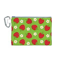 Strawberries Flower Floral Red Green Canvas Cosmetic Bag (M)