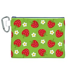 Strawberries Flower Floral Red Green Canvas Cosmetic Bag (XL)