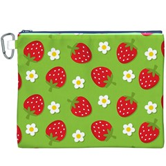 Strawberries Flower Floral Red Green Canvas Cosmetic Bag (XXXL)