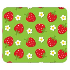 Strawberries Flower Floral Red Green Double Sided Flano Blanket (Small)