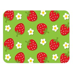 Strawberries Flower Floral Red Green Double Sided Flano Blanket (Large)